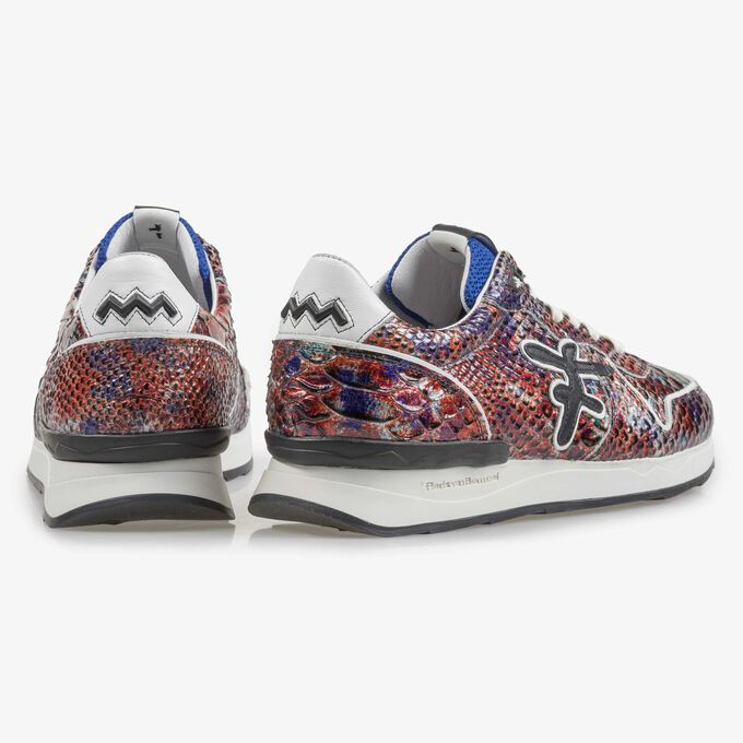 Red patent leather snake print sneaker