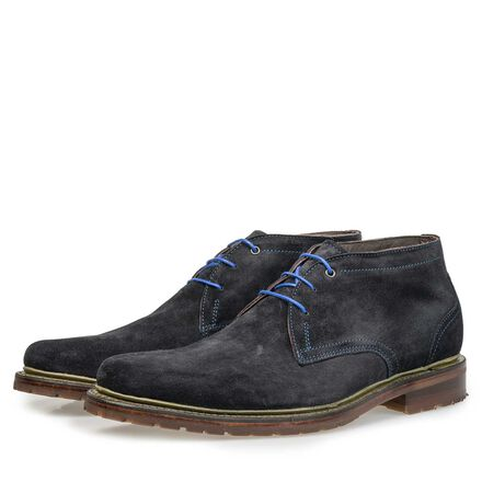 Calf suede leather lace boot
