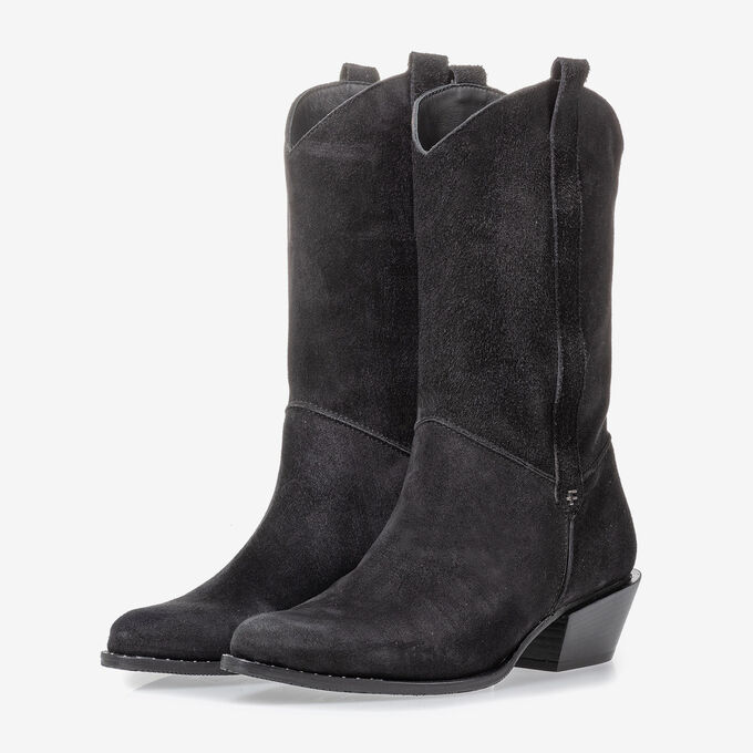 Western boot black suede leather