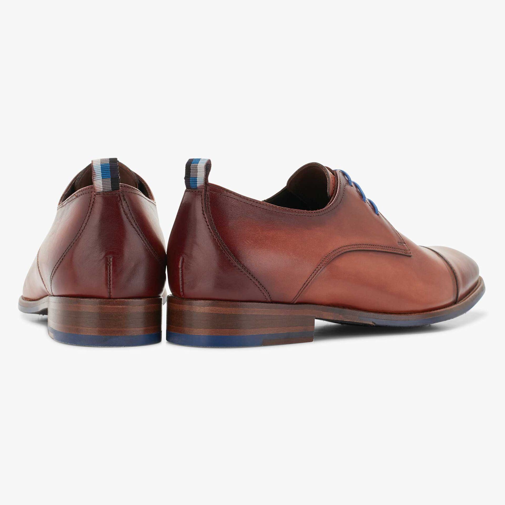 Floris van Bommel cognac-coloured men's leather lace shoe