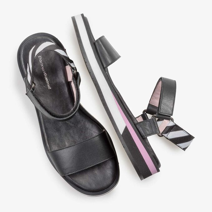 Flat black leather sandal