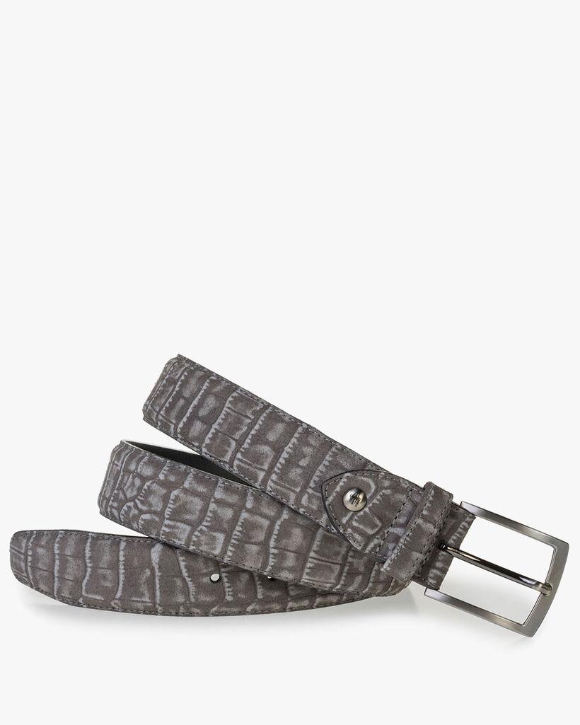 Dark grey suede leather belt print