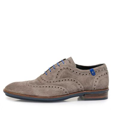 Brogue suede leather lace shoe