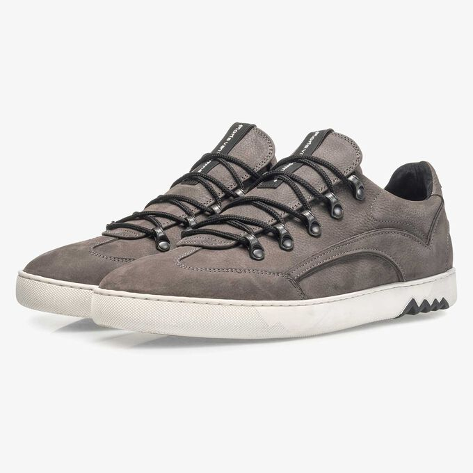 Dark grey nubuck leather lace shoe