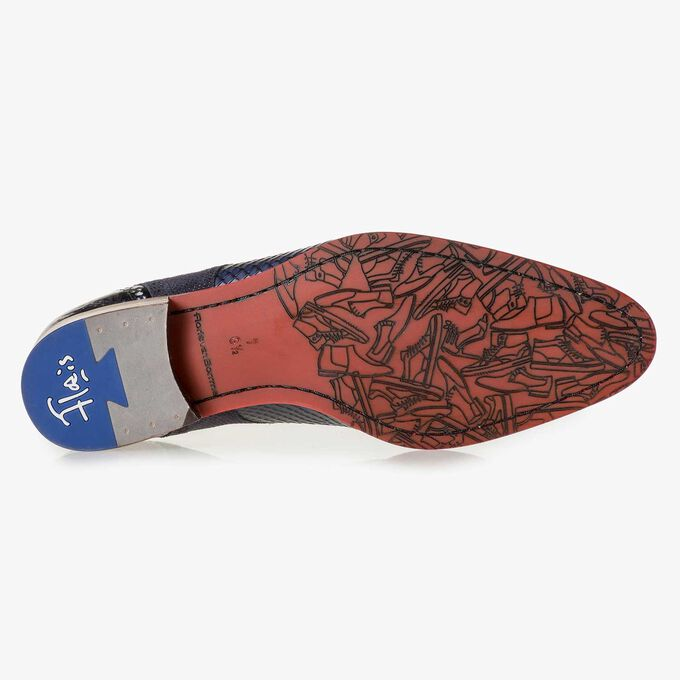 Blue snake print leather lace shoe