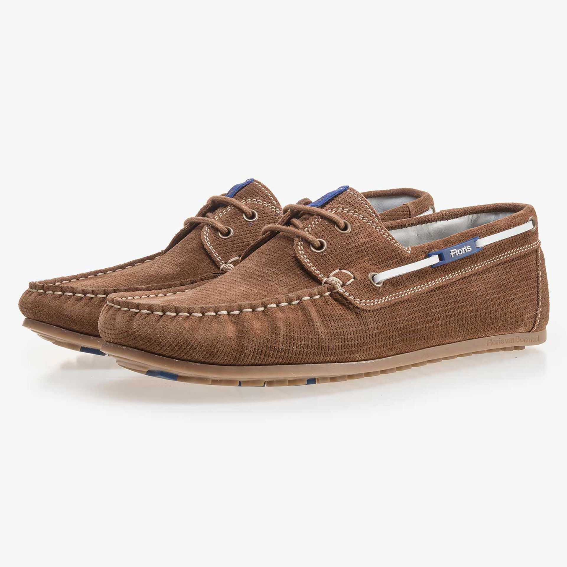 Brown, patterned suede leather boat shoe