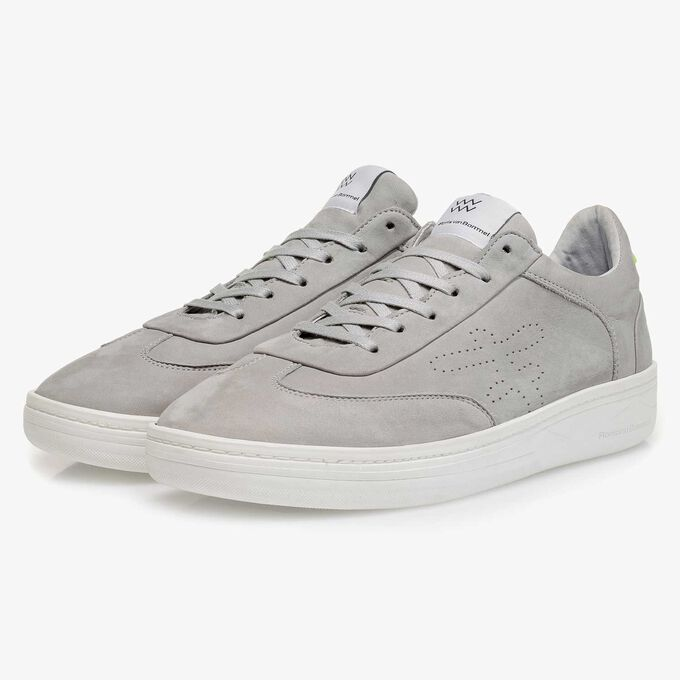Light grey nubuck leather sneaker