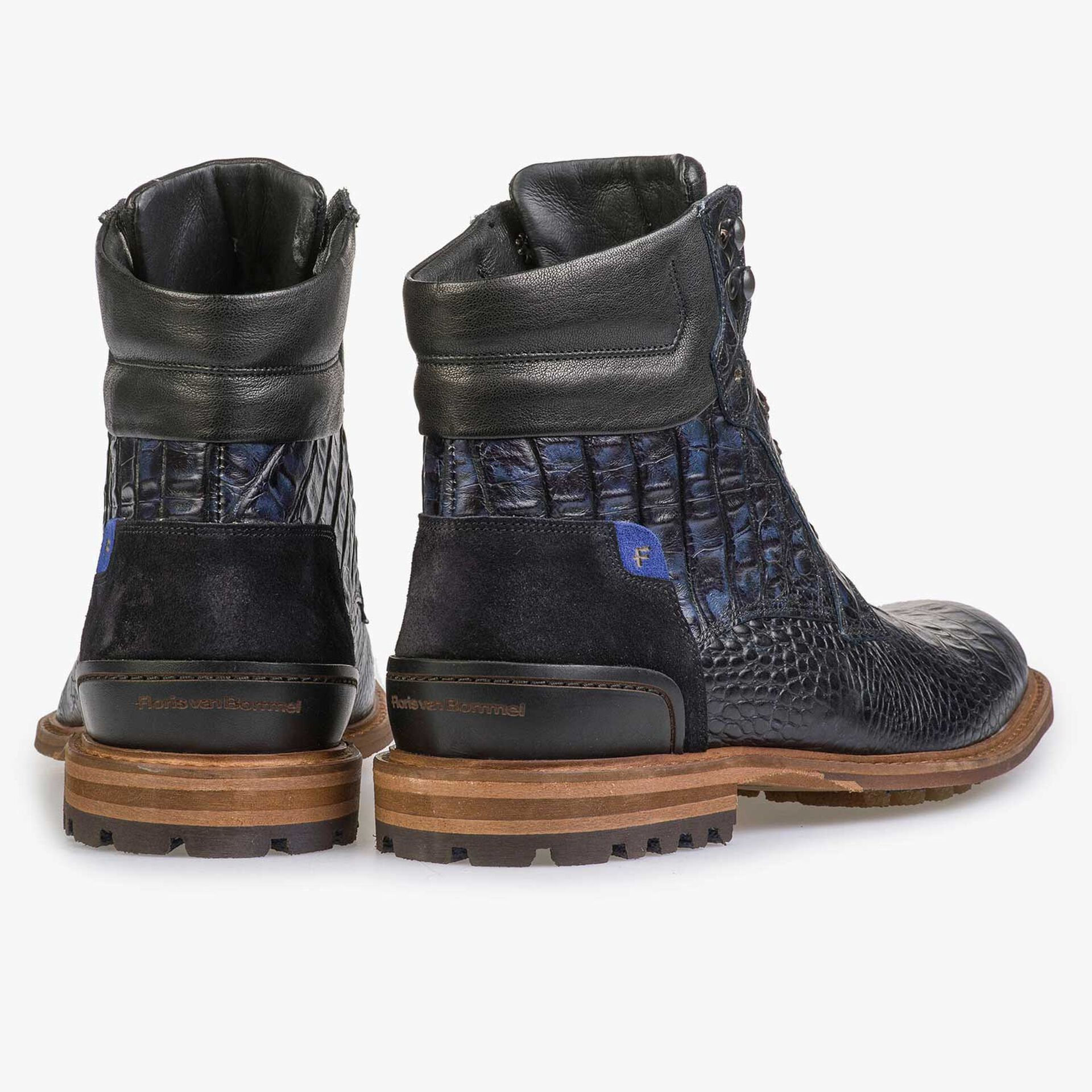 Blue calf leather lace boot with croco print