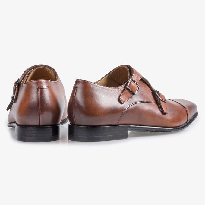 Cognac-coloured calf leather monk strap