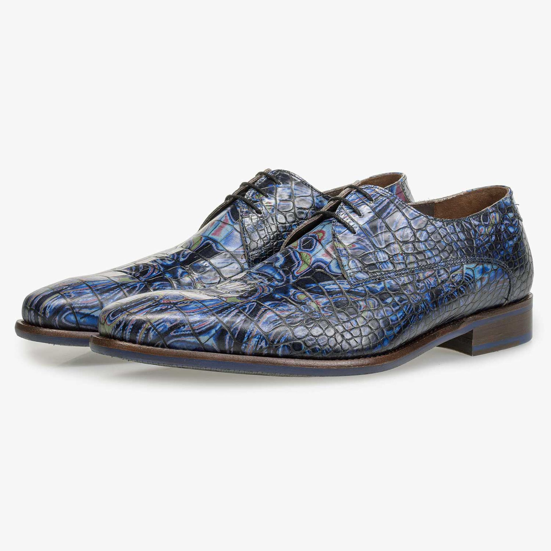 Blue Premium leather lace shoe with croco print