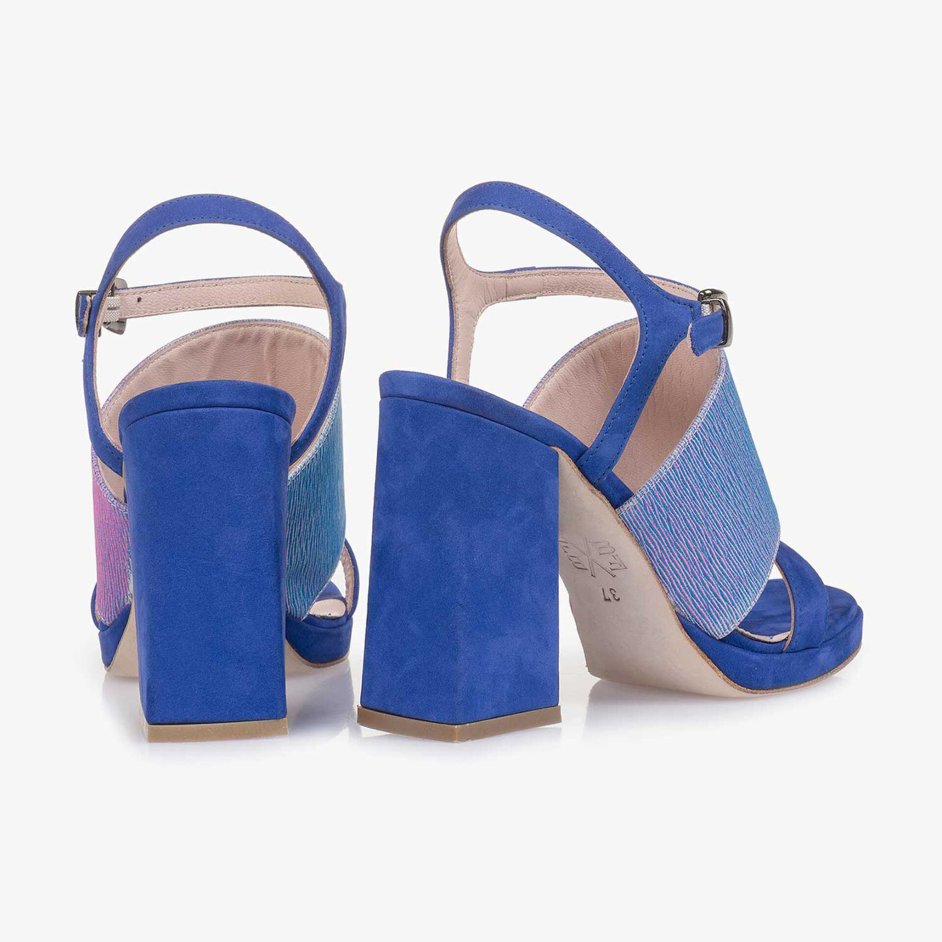 Blue high-heeled suede leather sandal with print