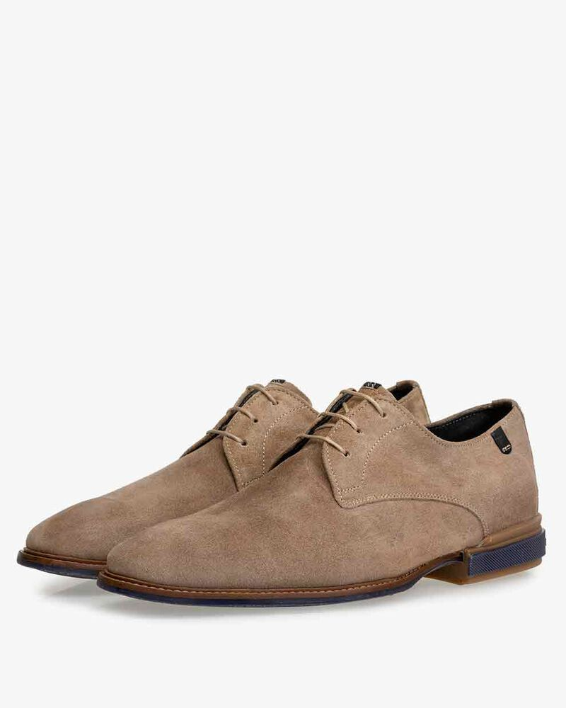 Lace shoe sand-coloured suede leather