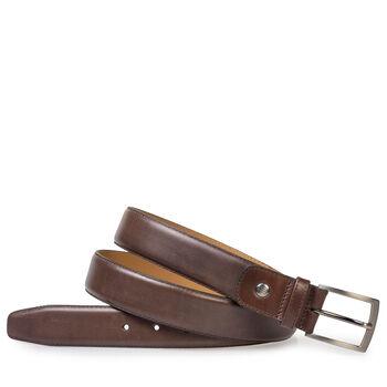 Dark brown calf leather belt