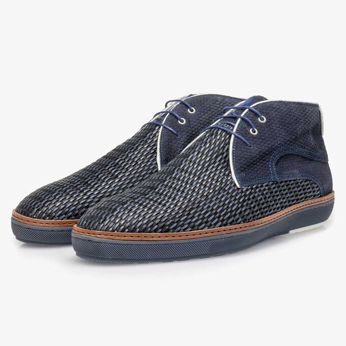 Blue braided suede leather lace boot