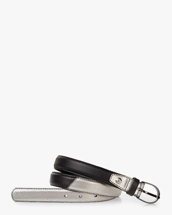 Belt leather silver