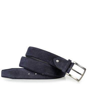Belt printed suede leather blue