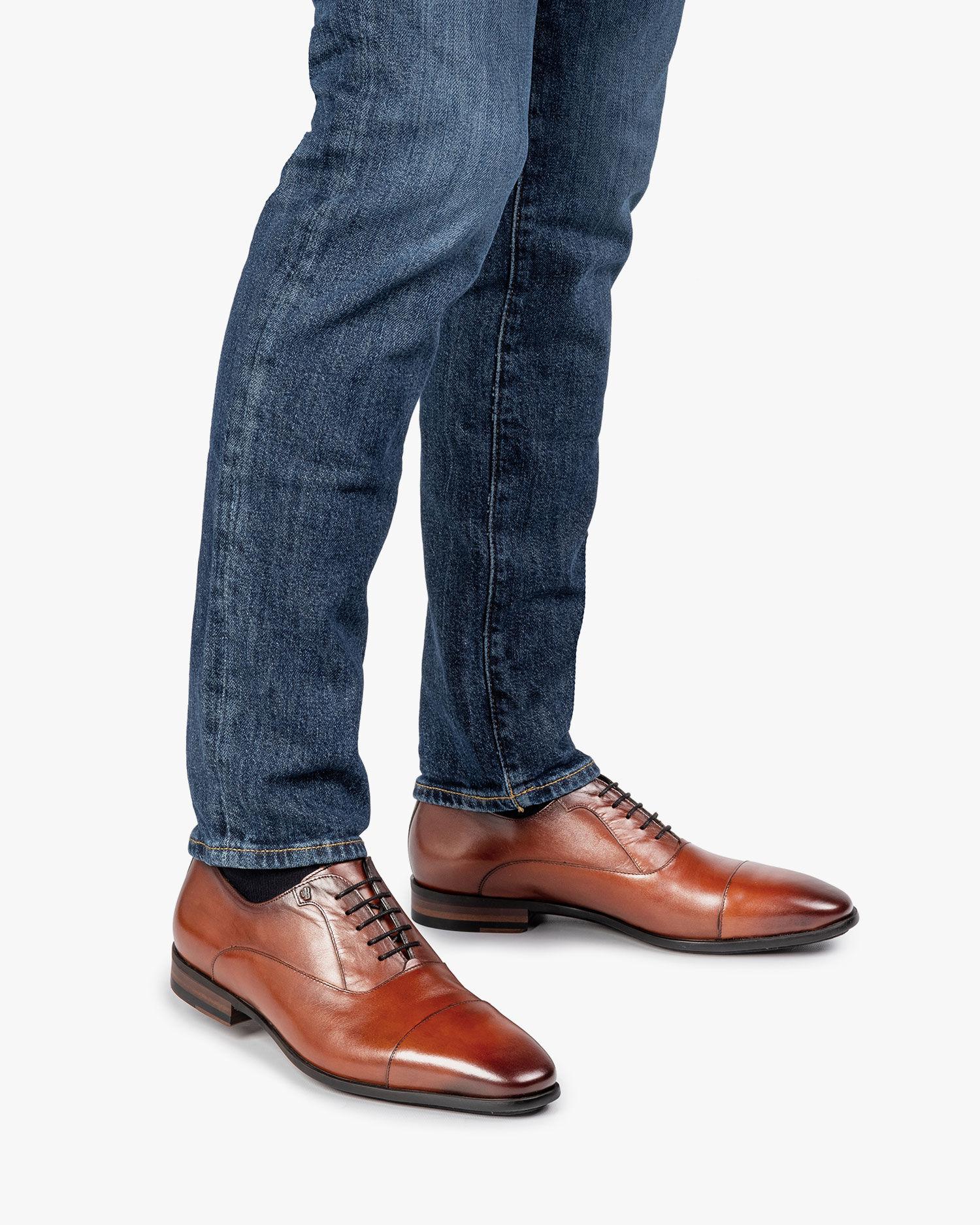 Dark cognac-coloured calf leather lace shoe 16218/04 | Van Bommel ...