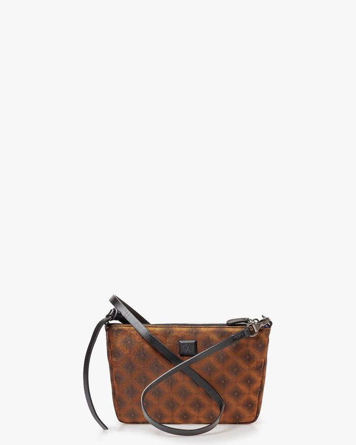 Bag brown textile with print