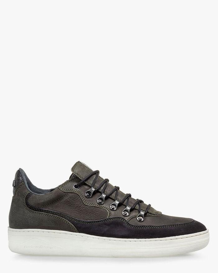 Sneaker nubuck leather dark green