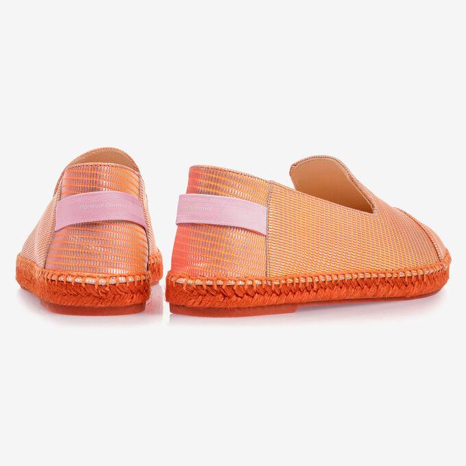 Orange leather espadrilles with metallic print