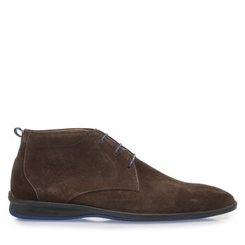 Brown suede leather lace boot