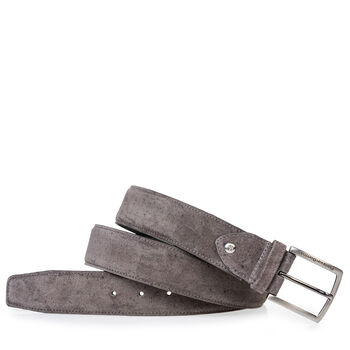 Suede leather belt grey with print