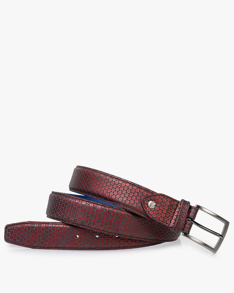 Leather belt red with print