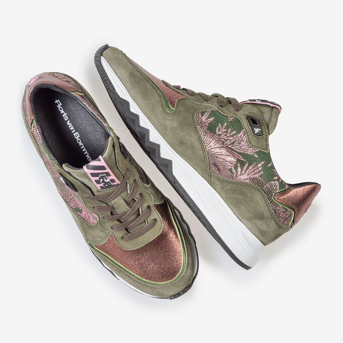 Sneaker olive green with print