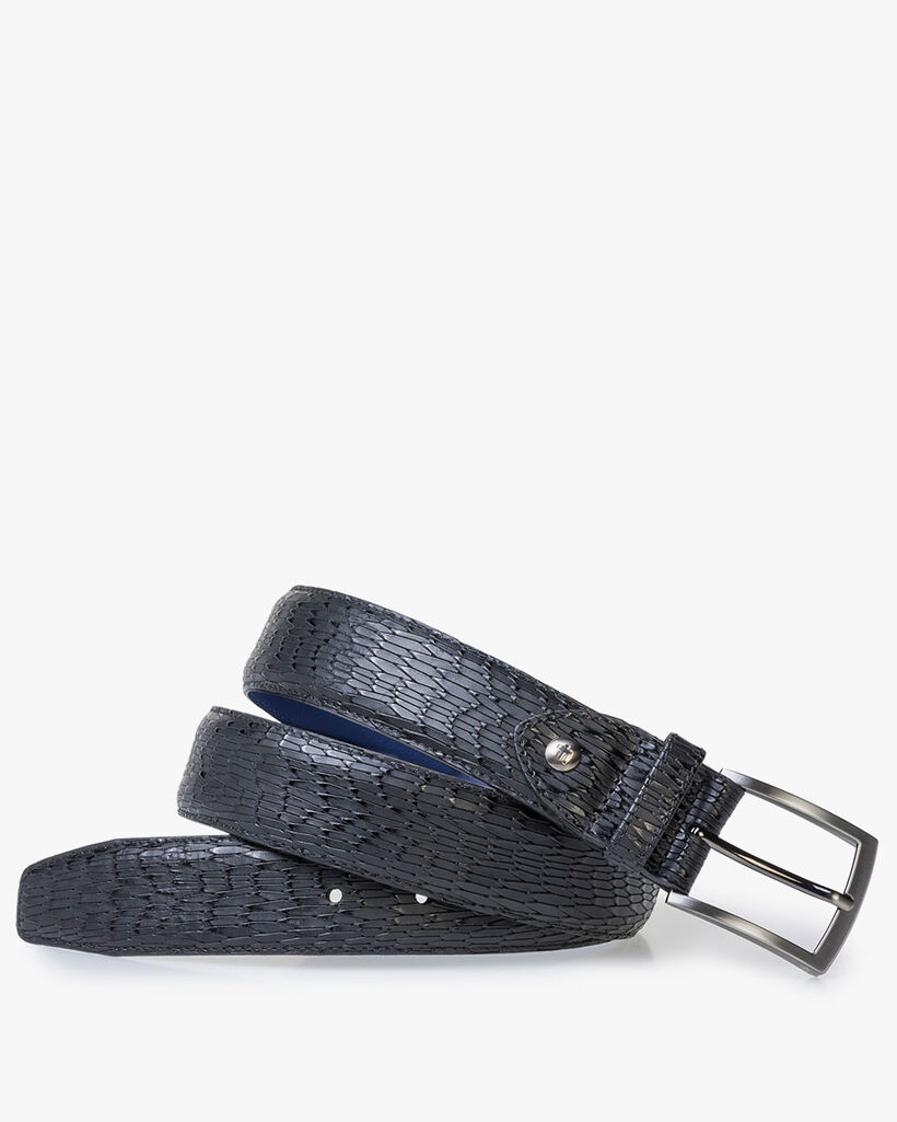 Black patent leather belt with print