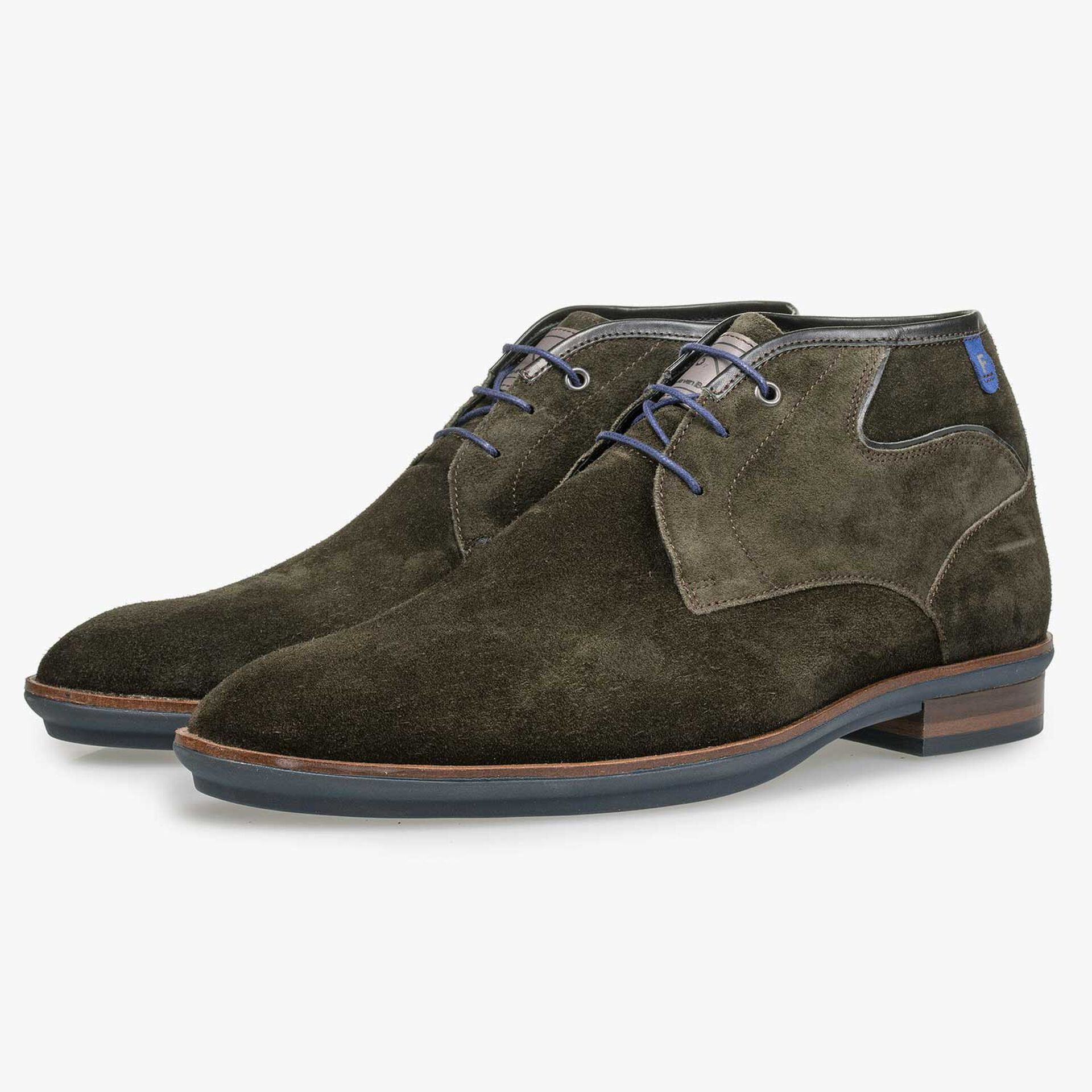 Olive green calf suede leather lace boot