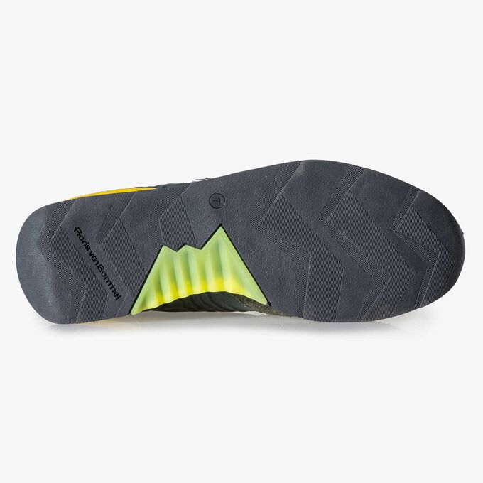 Green-yellow suede leather sneaker