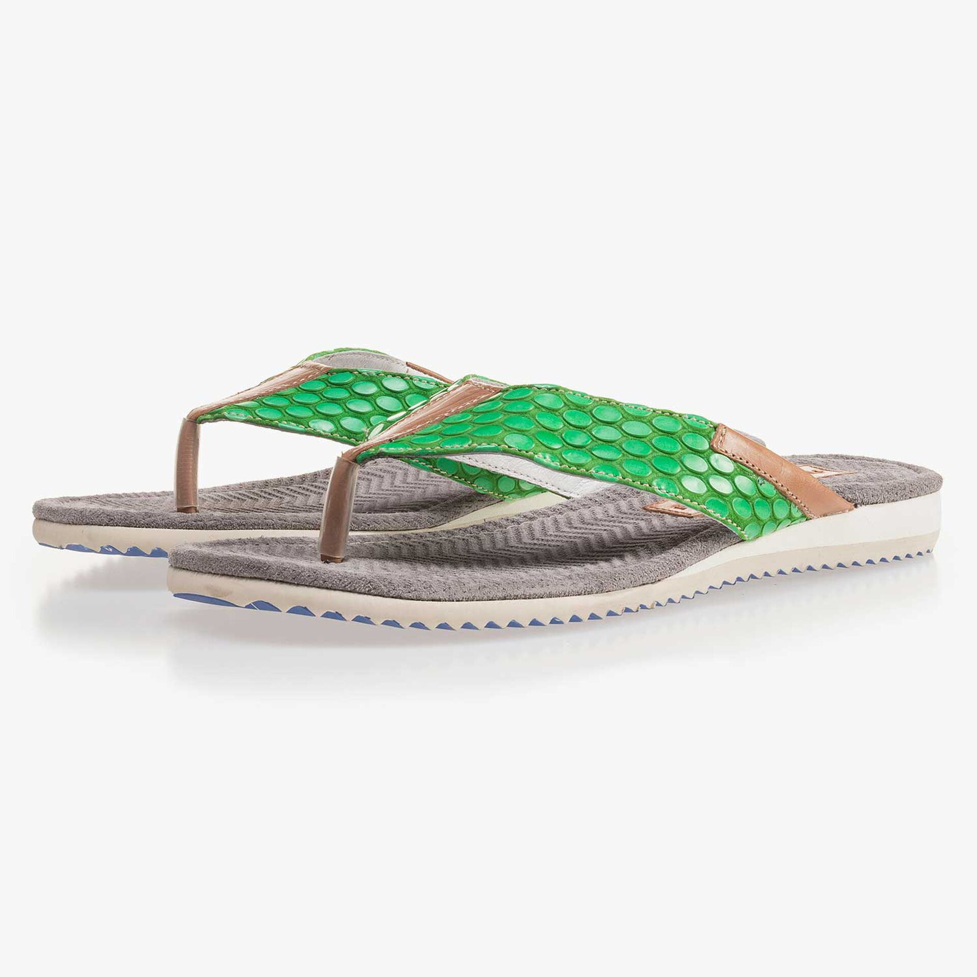 Green, printed slipper made of leather