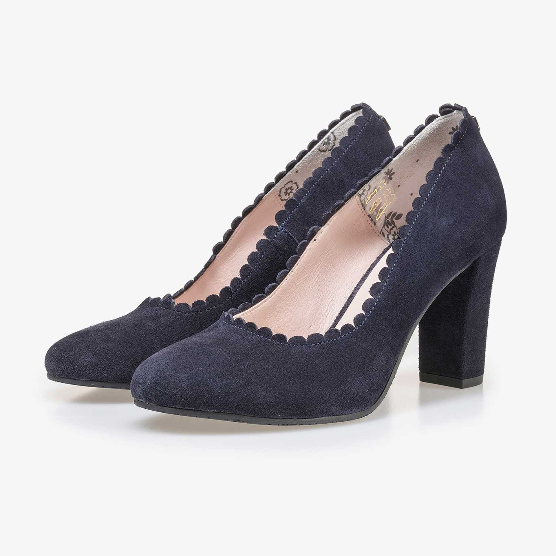 Dark blue calf's suede leather pumps