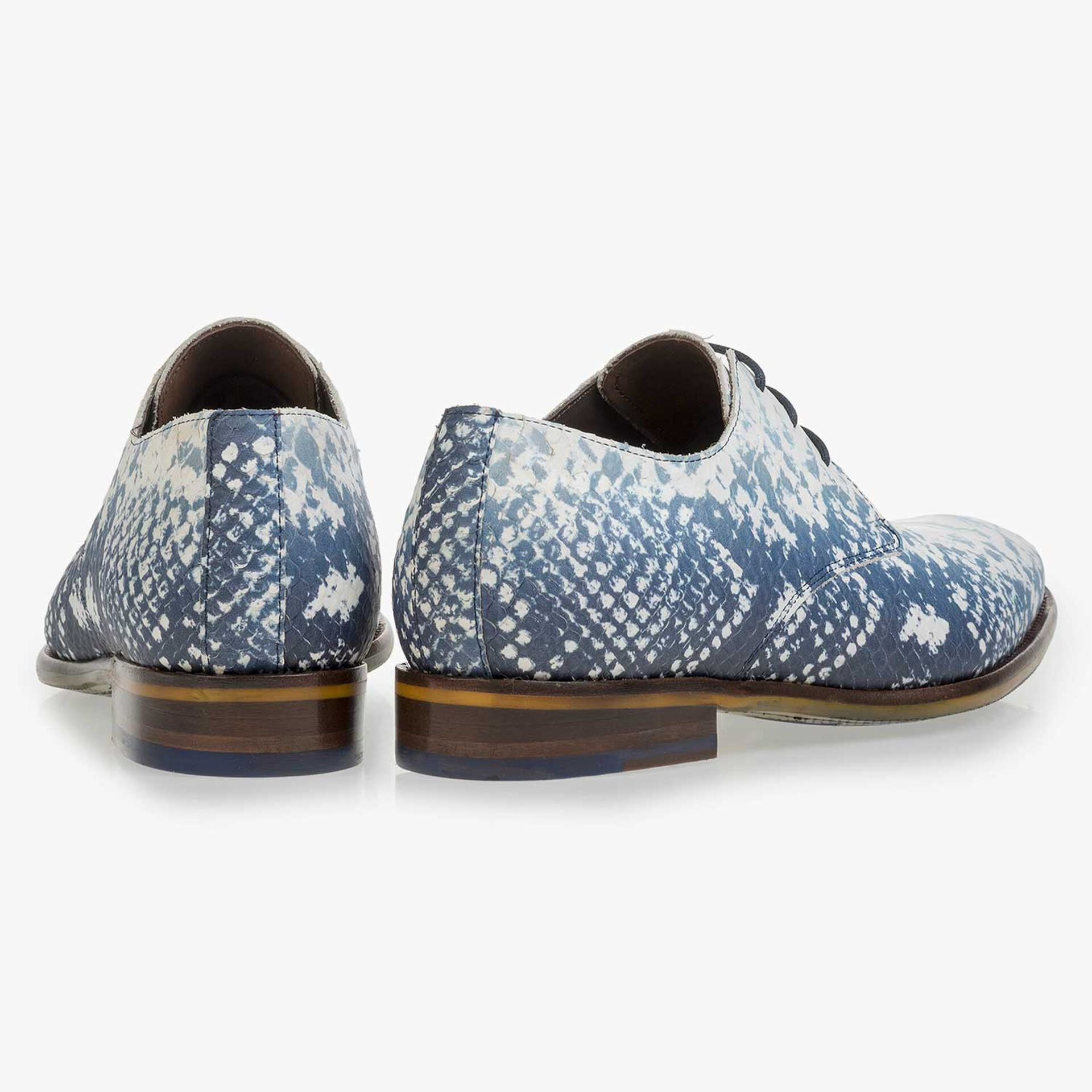 Dark blue leather lace-shoe with a snake print