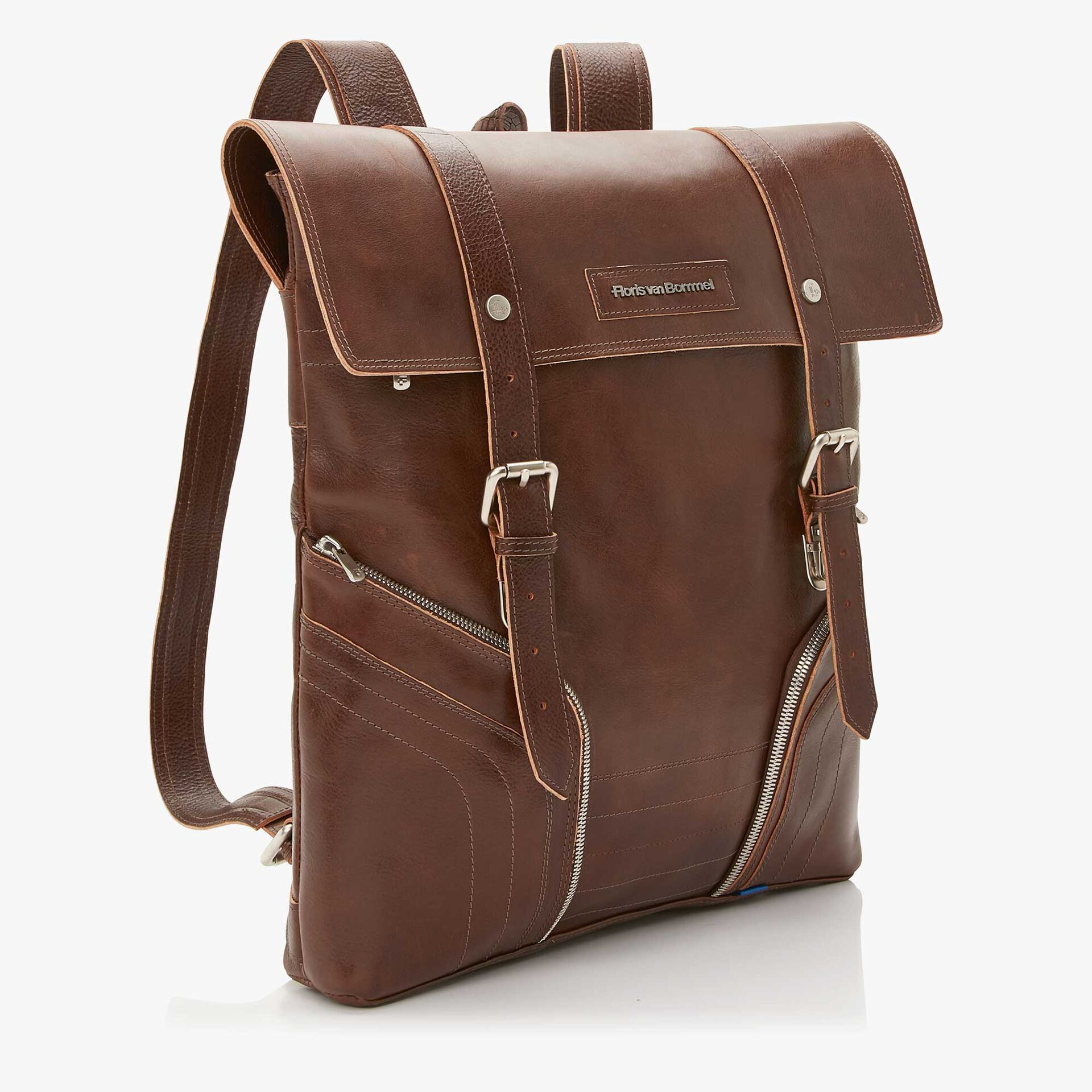 Floris van Bommel brown leather backpack
