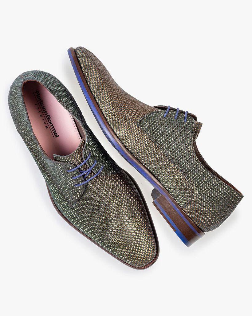 Lace shoe green metallic print