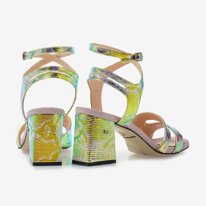 High-heeled leather sandals with green/gold metallic print