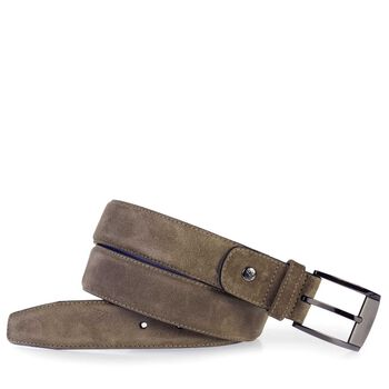 Belt suede leather taupe