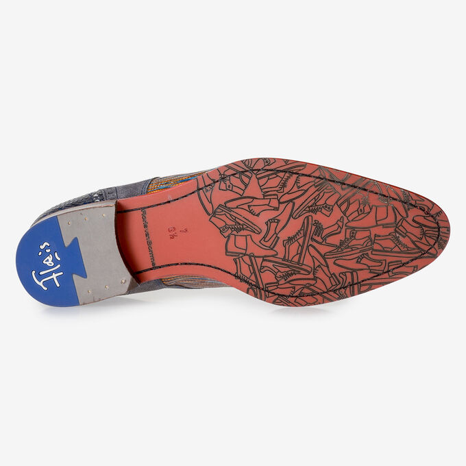 Blue and red lace shoe with lizard print