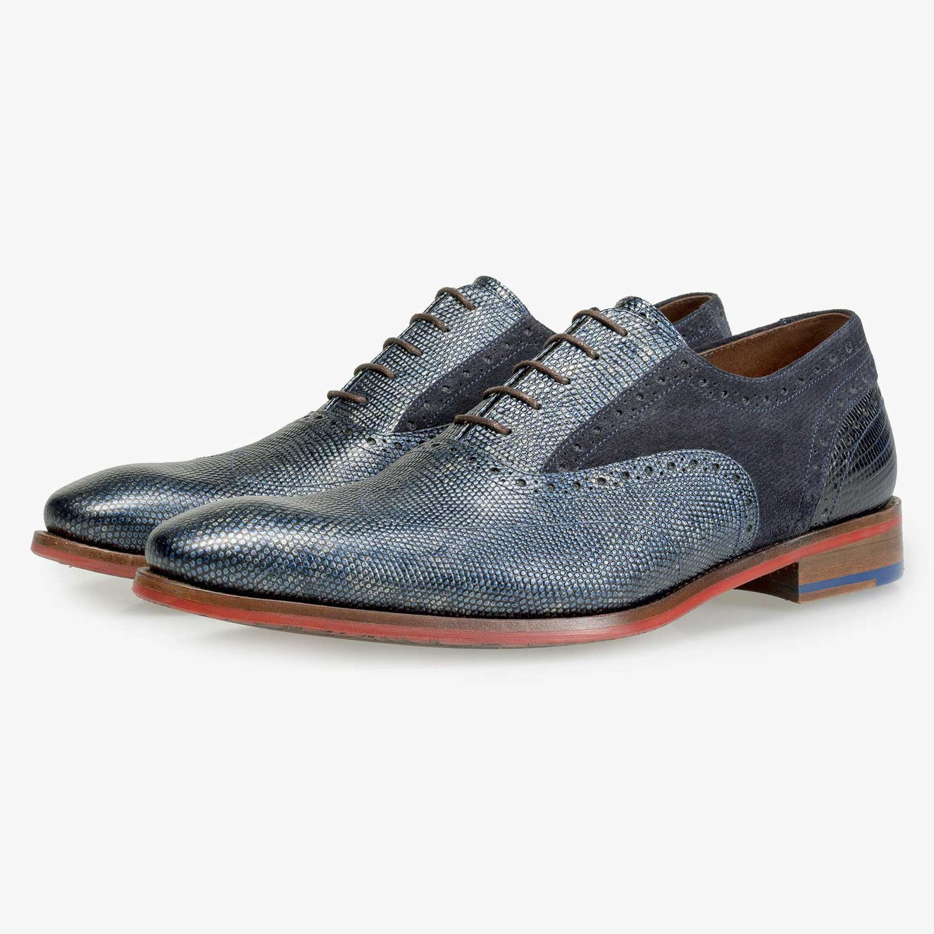 Blue Premium calf leather lace shoe