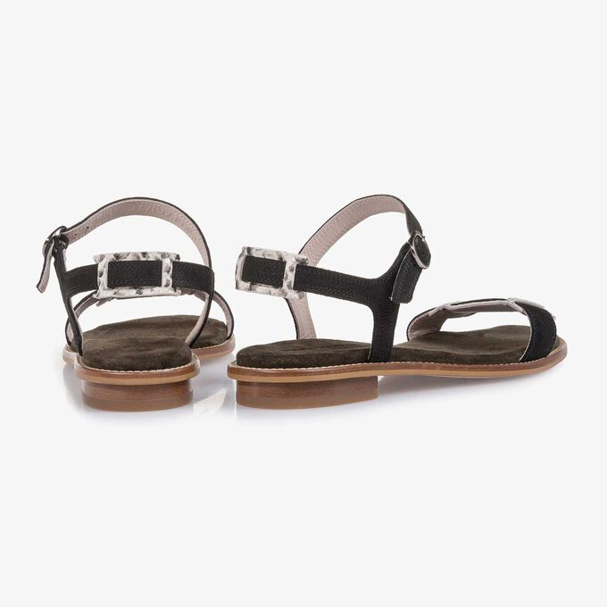 Black structured nubuck leather sandal