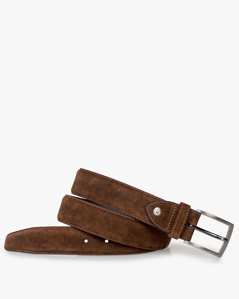 Belt suede leather cognac
