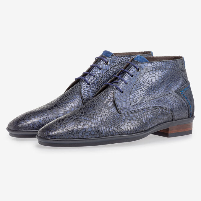 Lace boot with print blue