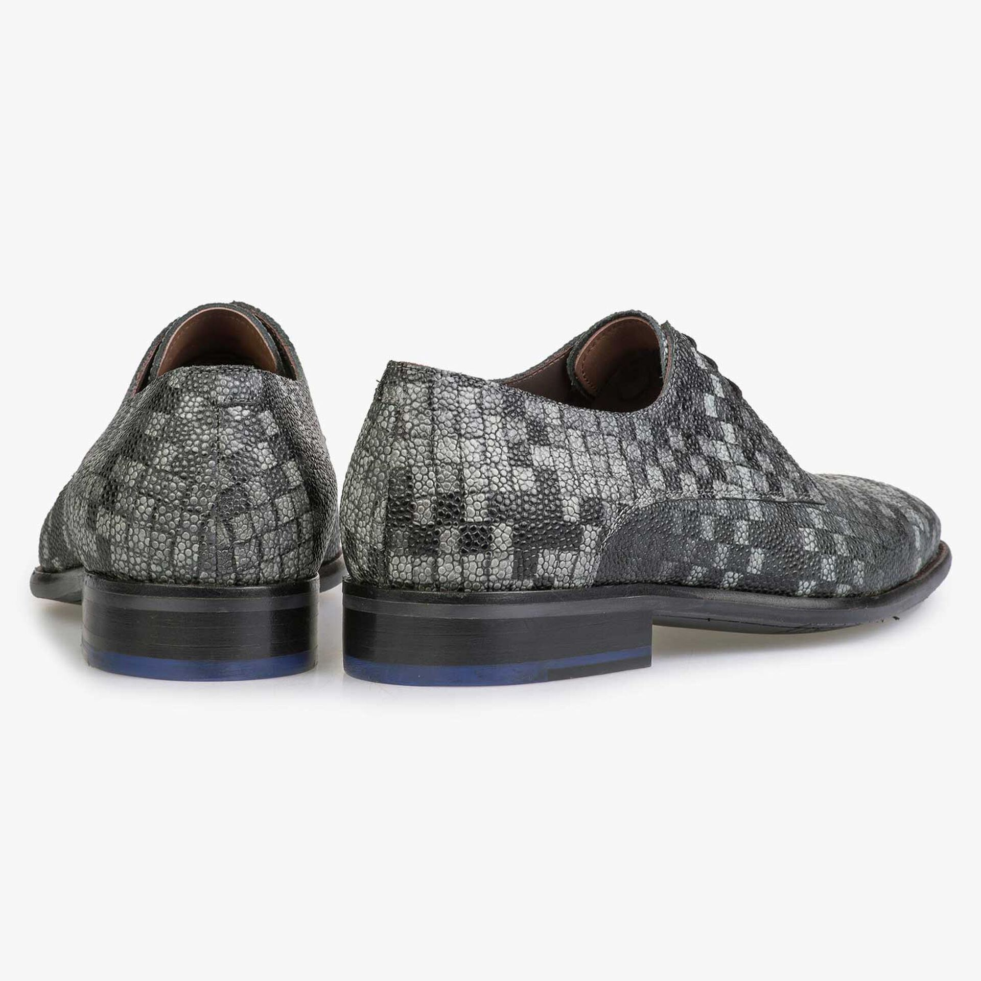 Grey printed calf's leather lace shoe