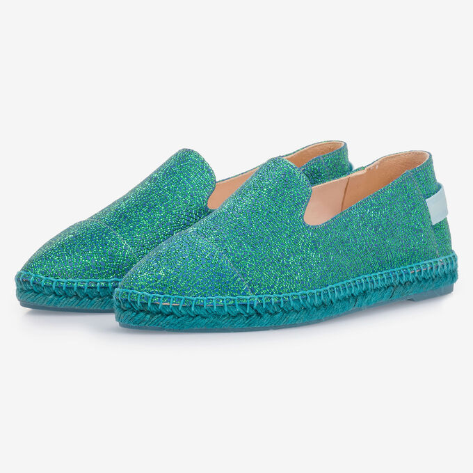 Blue leather espadrilles with metallic print