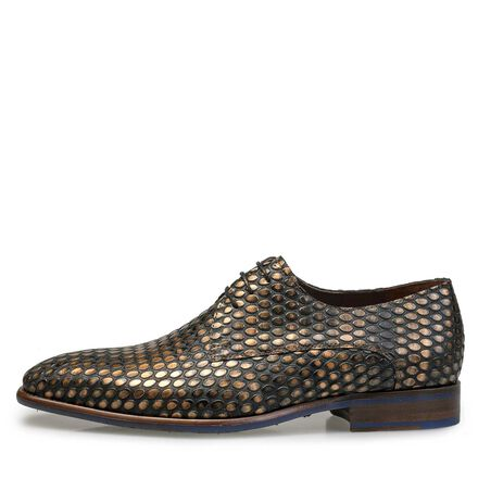 Leather lace shoe with coffee bean print