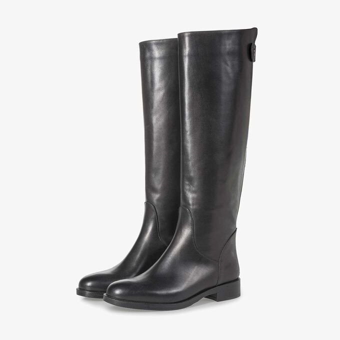 Black calf leather high boots