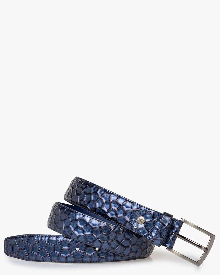 Belt with metallic print blue
