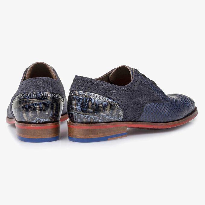 Blue snake print leather lace shoe