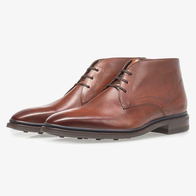 Dark cognac-coloured calf leather lace boot